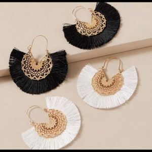 Boho Chic Tassel fringe fan earrings set